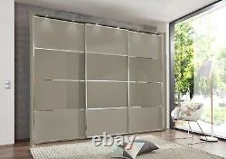 High End German Sliding Wardrobe Bedroom Silver Pebble Grey White Fitted New