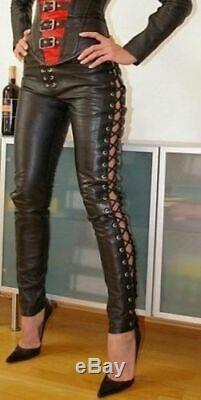 Hot Sales Women Real Lamb Leather Laces Up Pants Sexy Slim Fit Leather Pants