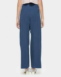 ILANA KOHN Boyd Royal Blue High Waisted Wide Leg Loose Fit Full Length Pants 6