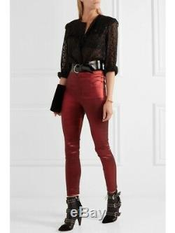 ISABEL MARENT Red Nevada Stretch VE High Rise Skinny Fit Shiny Trouser Pant 36/4
