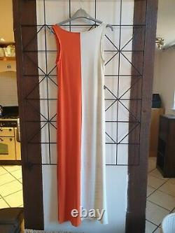 Iconic and rare Moschino orange and white words maxi dress VGC fits size 8 to 10