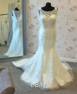 Ivory Wedding Dress TALL Fitting UK 14 16 Full Length by Catherine Parry