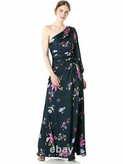 JILL STUART Womens Navy Floral Full-Length Fit + Flare Formal Dress Size 0