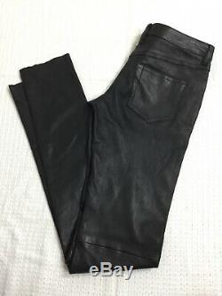Joseph Erevan Cuir Stretch Black 100% Leather Skinny Slim Fit Trousers S UK 8