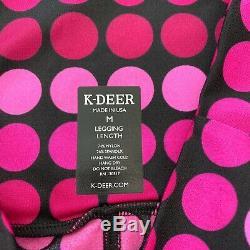 K Deer NWT Pink Dot Leggings Medium Full Length
