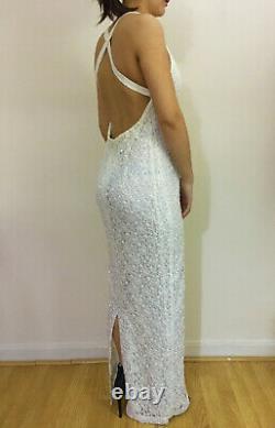 Karen Millen Ivory Heavy Beaded 1920s Flapper Gatsby Maxi Dress UK 14 fits 10