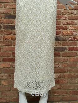 Karen Millen Off White Heavy Beaded 1920s Flapper Gatsby Maxi Dress UK14 fits 10