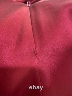 Karen Millen Red Satin Gala Wedding Long Ballgown Party Maxi Fitted Dress UK 12
