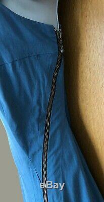 Karen Millen UK 14 Teal Blue Front Zip Fit Flare Summer Everyday Midi Dress 42