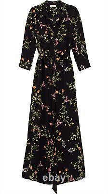 L'agence Cameron Floral Print Silk Crepe De Chine Maxi Dress Large