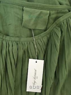 LOUP CHARMANT Flores tiered cotton maxi skirt in Khaki Size L fits UK 14-16