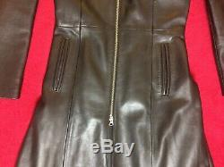 Ladies Black Leather Full-Length Coat, Fit & Flare 100% Leather Size XS (6/8)