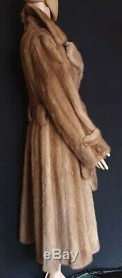 Ladies Real Natural Pastel Mink Fur Full Length Coat Fit & Flare Style with Belt