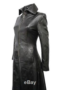 Ladies Vampire Black Gothic Full Length Coat Style Fitted Nappa Leather Jacket