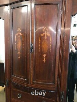 Large Edwardian Inlaid Mahogany Fitted Wardrobe With Full Length Mirrors