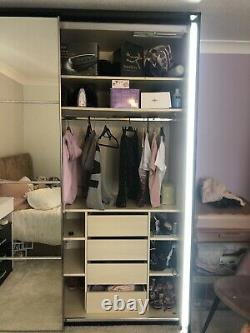 Large Mirrored Wardrobe With LED Rim Lights and Fitted Shelves
