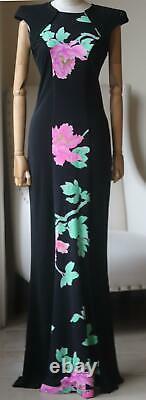 Leonard Vintage Floral Print Silk Maxi Dress Fr 38 Uk 10