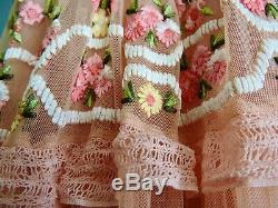 Light pink floral embroidered Needle and Thread maxi dress size 8 fits 10