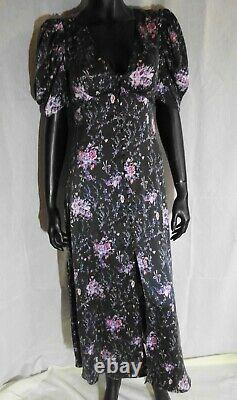 LoveShackFancy LSF Delaney Maxi Dress in Navy Cosmos Silk size XS fit UK 8-10
