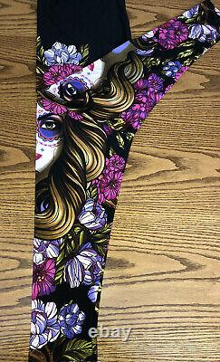 LuLaRoe TC Floral Skull Lady Leggings Black Creepin It Real Halloween HTF NWT