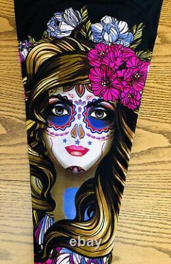 LuLaRoe TC2 Floral Skull Lady Leggings Black Creepin It Real Halloween HTF NWT