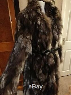 Luxurious Full Length Soft Silver Fox Long Thick Fur Coat Jacket Fits 14 16 18