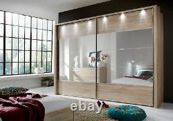 Luxury German Sliding Wardrobe Bedroom Oak Wood White Mirrored Glass Fitted Free
