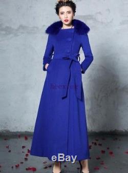 Luxury Women Big Fox Fur Collar Waistband Slim Fit Full Length Trench Wool Coat