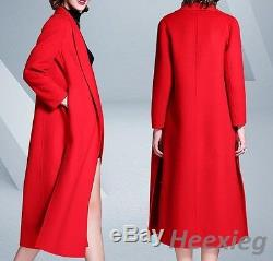 Luxury Womens Europe Style Loose Fit Overcoats Oversize Full Length Woolen Coats