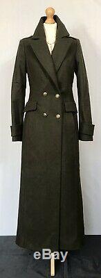 MANGO Khaki Military long Full Length fitted Wool Winter Coat Size Small UK 8
