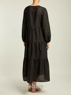 MATTEAU Black Long Sleeve Tiered Cotton Maxi Dress Size 4 fits UK 14-16