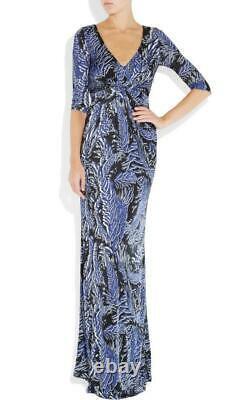 MATTHEW WILLIAMSON Blue Black Feather Print Jersey Maxi Dress Fits UK8 $1275