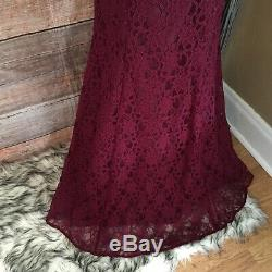 MORI LEE size 6 BORDEAUX LACE LINED FULL LENGTH MERMAID FIT BRIDESMAID FORMAL