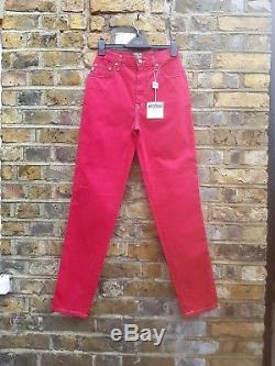 MOSCHINO WOMEN'S RED SLIM FIT STRETCH JEANS TROUSER PANTS 90s VINTAGE NEW