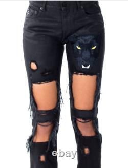 Marcelo Burlon MAIVE Panther Embroidery Skinny Fit Destroyed Jeans sz 27 $700