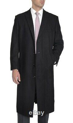 Men's Regular Fit Black Full Length Wool Cashmere Overcoat Topcoat
