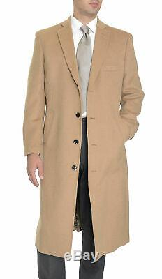 Men's Regular Fit Camel Tan Full Length Wool Cashmere Overcoat Topcoat