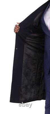 Men's Regular Fit Navy Blue Full Length Wool Cashmere Overcoat Topcoat