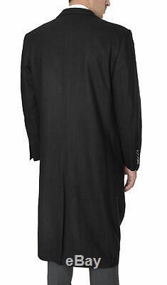 Mens Regular Fit Solid Black Full Length Wool Cashmere Overcoat Top Coat-40R