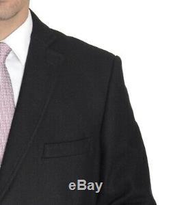 Mens Regular Fit Solid Black Full Length Wool Cashmere Overcoat Top Coat-48L