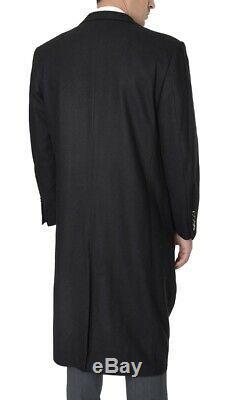 Mens Regular Fit Solid Black Full Length Wool Cashmere Overcoat Top Coat-50R