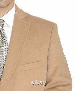 Mens Regular Fit Solid Camel Tan Full Length Wool Cashmere Overcoat Top Coat