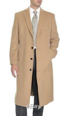 Mens Regular Fit Solid Camel Tan Full Length Wool Cashmere Overcoat Top Coat-60R