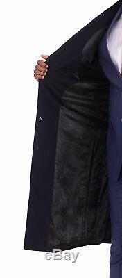 Mens Regular Fit Solid Navy Full Length Wool Cashmere Blend Overcoat Top Coat