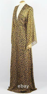 Michelle Mason Wrap Effect Leopard Print Silk Chiffon Maxi Dress Us 8 Uk 12