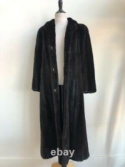 Mink Fur Dark Chestnut Brown Full Length 50 Long Fur Coat Classic Fits Small