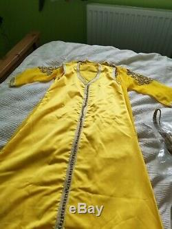 Moroccan caftan takchita 2 Piece Light Yellow Fit size 10/12,12/14