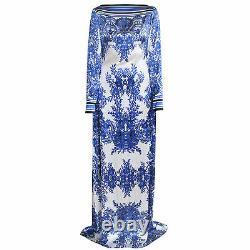 NAEEM KHAN $5990 blue ivory silk full length floral caftan gown maxi dress 8 NEW