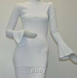 NEW Caroline Constas Knit Maxi Long Fitted Bodycon Stretch Dress White S M