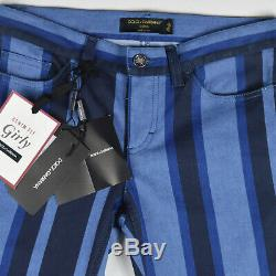 NEW Dolce & Gabbana D&G Womens Jeans IT40/UK8 Girly Denim Fit Striped Blue Italy